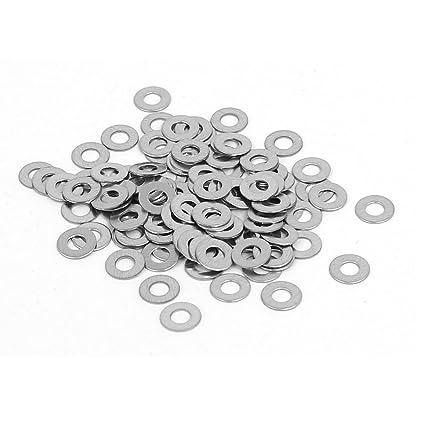 sourcingmap Arandela plana Arandela de acero inoxidable de 304 m2 juntas espaciadores tono plata 100 piezas