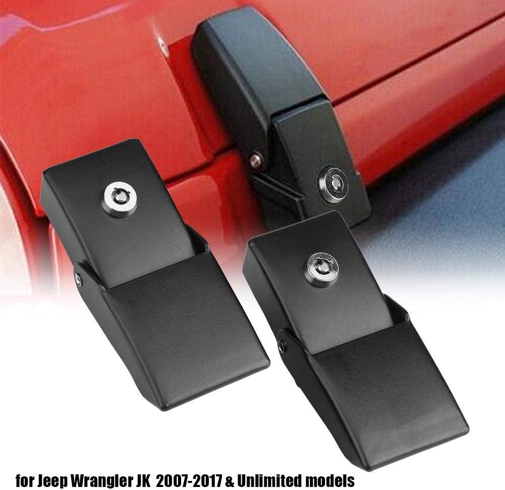 verrous de verrouillage et cl/és pour Jeep Wrangler JK 2007-2017. 1 paire de verrous de capot antivol en m/étal Verrou de capot