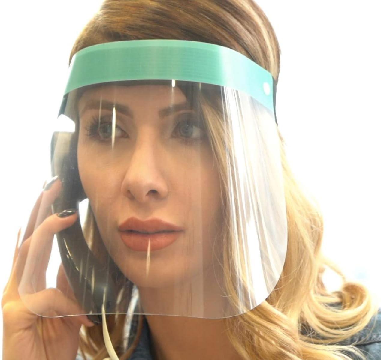 Karen – Protección facial, visera de plástico – Cara Shield – Transparente Cara Escudo con banda de goma ajustable para hombres y mujeres, fabricado en Europa