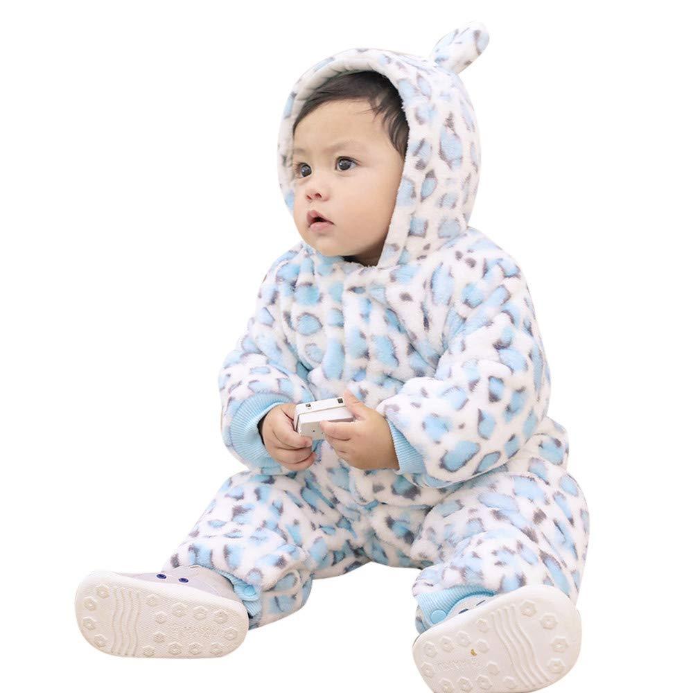 MRULIC Schöne Kaninchen Bär Ohren Baby Crawlen Mantel Winter Playsuit Dicker Mantel Warmen Overall Outfit Outwear Mädchen Jungen Baumwollmantel Plüschjacke MRULIC Oct