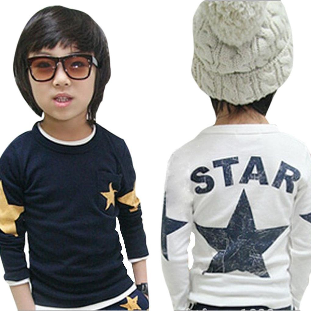Baby Toddler Boys Autumn Winter Long Sleeve Tops T Shirt Fashion Kids Child Star Print Sweatshirt Clothes 2-6T (2-3 Years Old, Navy)