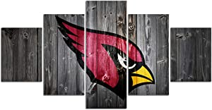 Arizona Cardinals Pictures for Wall Art Paintings 5 Piece Canvas Living Room Decor Football Team Logo Artwork Decoration Poster Prints Framed Ready to Hang(60''Wx32''H)