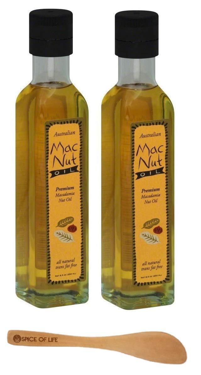 Mac Nut Macadamia Nut Oil 8.5 Ounces (Pack of 2) - with Spice of Life Mini Bamboo Spatula