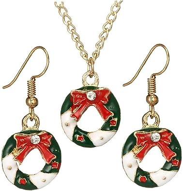 Rrunzfon Pendientes del Collar del Buñuelo De Navidad 1 Collar ...