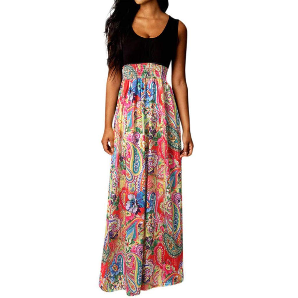 Hessimy Womens Maxi Dress Floral Printed Summer Contrast Sleeveless Tank Top Casual Tunic Long Maxi Dress