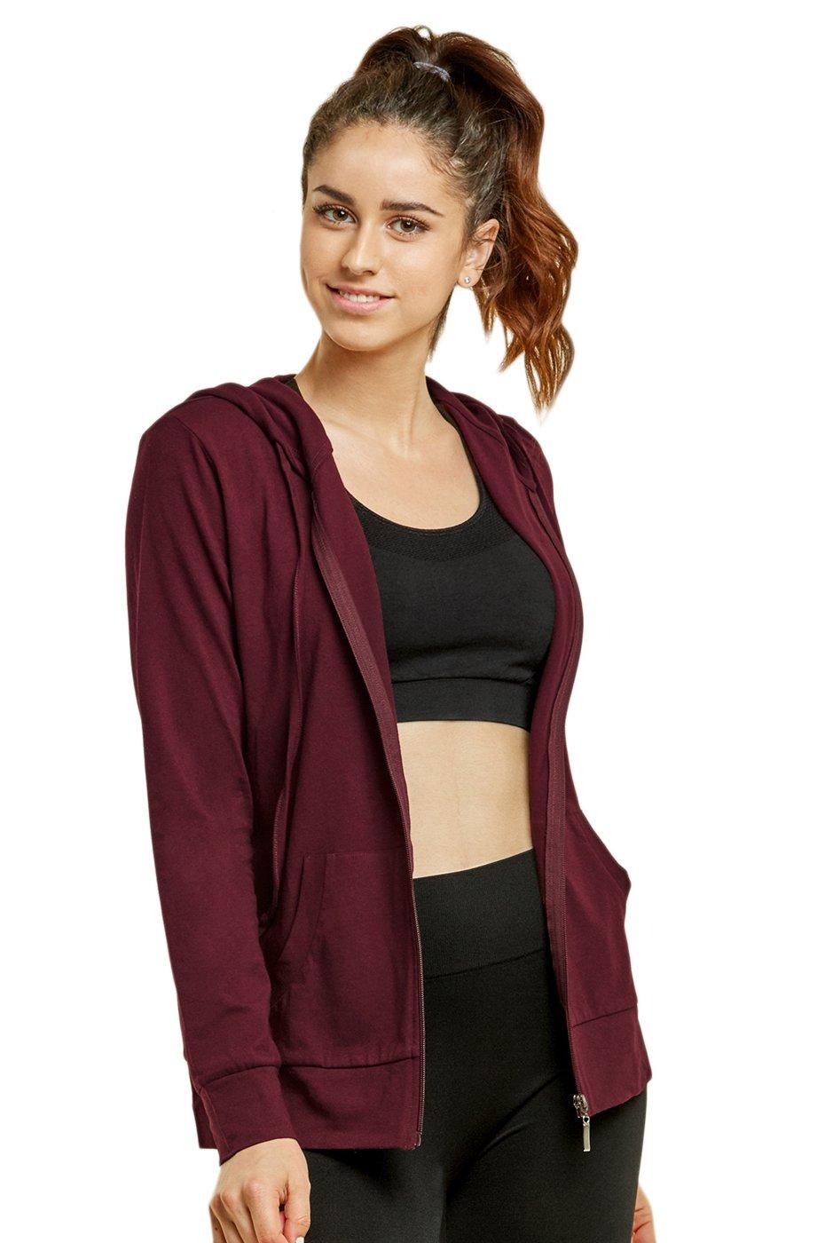 Sofra Women's Thin Cotton Zip Up Hoodie Jacket (XL, Burg)