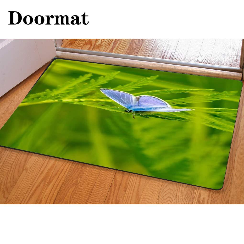 HooMore 3Dプリント染め バスルームカーペット ドアマット パープルフラワーフランネルフォームシャワーマット 吸水性キッチンドアカーペット 15.7