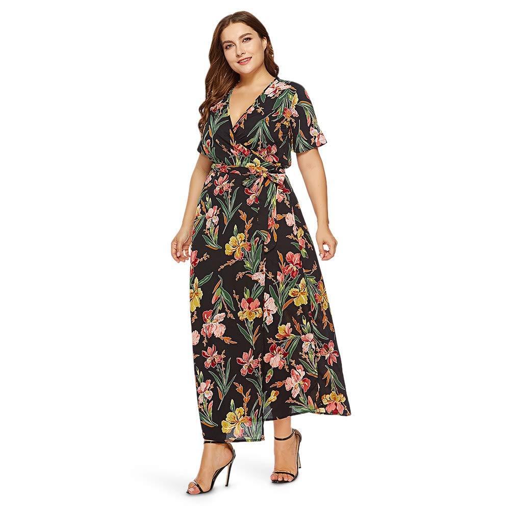 c3b62b435cf Amazon.com  EbuyChX Plunge Neck Short Sleeve Floral Print Belted Plus Size  Women Maxi Dres Black XL  Clothing
