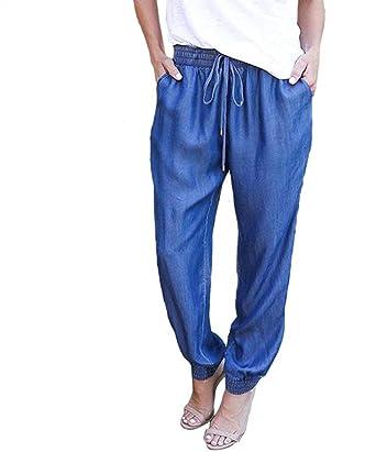 Femme Pantalon Jean Pants Printemps Automne Pantalon De Loisirs Elégante  Mode Casual Pants Uni Manche Basic ba334b8b4ac
