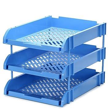 Blau Mesh Briefablage Kunststoff Sammlung 3 Tier Buro Schreibtisch