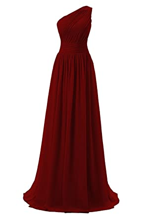 Dressever Womens Long One Shoulder Bridesmaid Chiffon Prom Evening Dress Dark Red US 18W