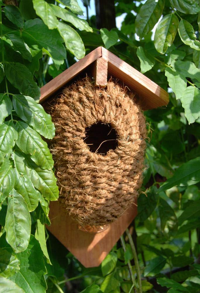 Vogelhaus mit H/öhle aus Seegrass 15 cm x 10 cm x 26 cm Esschert Design 2 St/ück Nistkasten ca