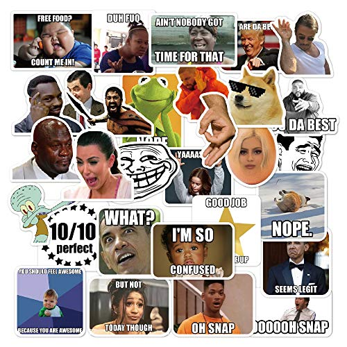 Meme Sticker Pack [30pcs], Funny Internet Memes and Celebrity Vinyl Stickers, for Laptop Phone Luggage Computer Mug Notebook Home Wall Snowboard MacBook [Non-Reflective, Waterproof, Sunproof]