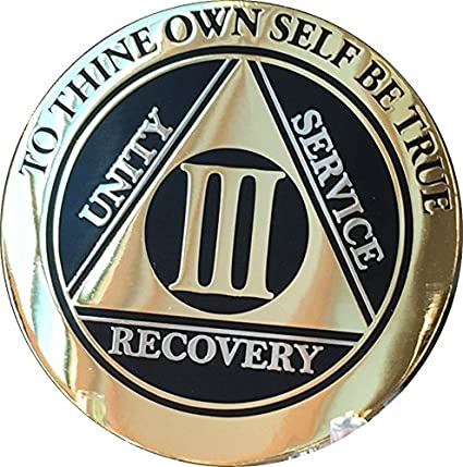 3 Year AA Medallion Reflex Bronze Sobriety Chip Alcoholics Anonymous Coin III