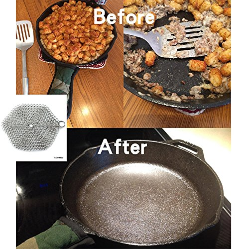 Zehui Cleaning Brush Stainless Steel Kitchenware Cleaner Cast Iron Cleaner Chainmail Scrubber Silvery Brush Pot Round Silver 7x7 by Zehui (Image #4)