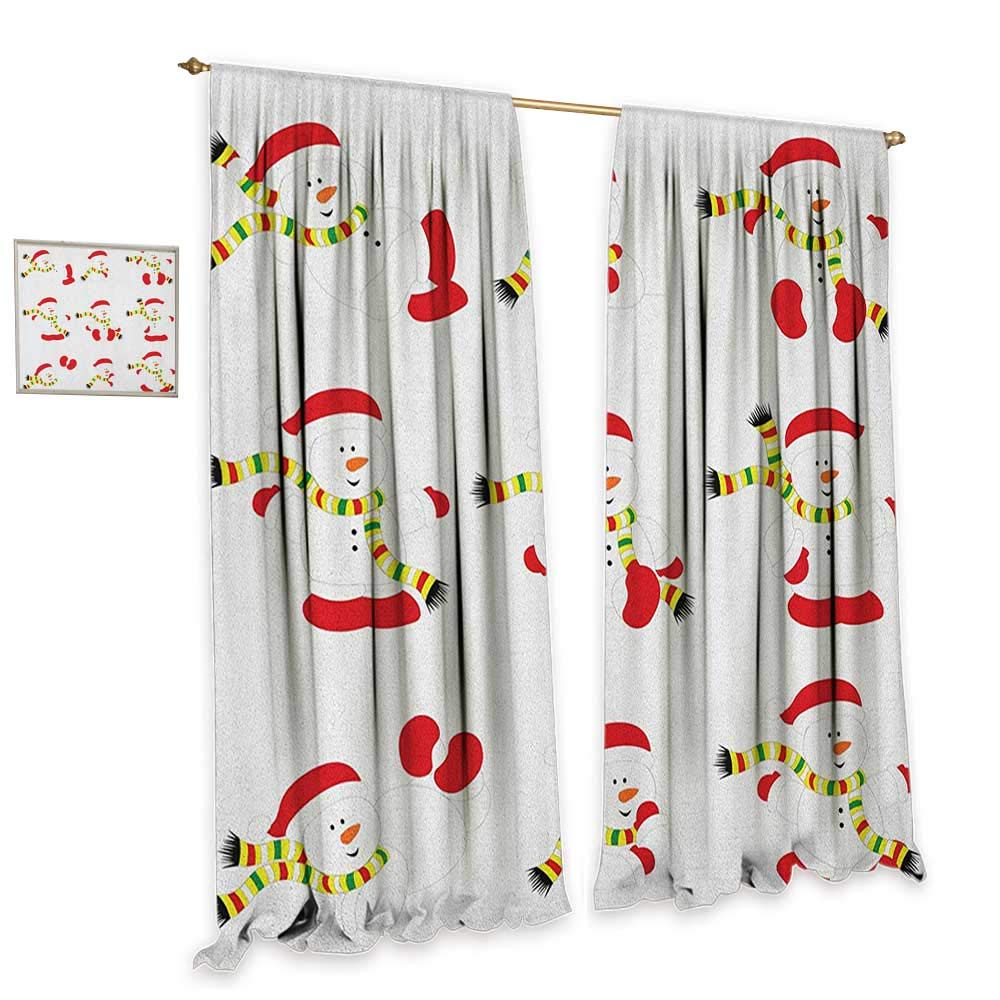 Christmas Blackout Window Curtain Cute Snowman with Scarf Collection Different Funny Poses Noel Festivities Drapes for Living Room W108 x L84 Red White Green