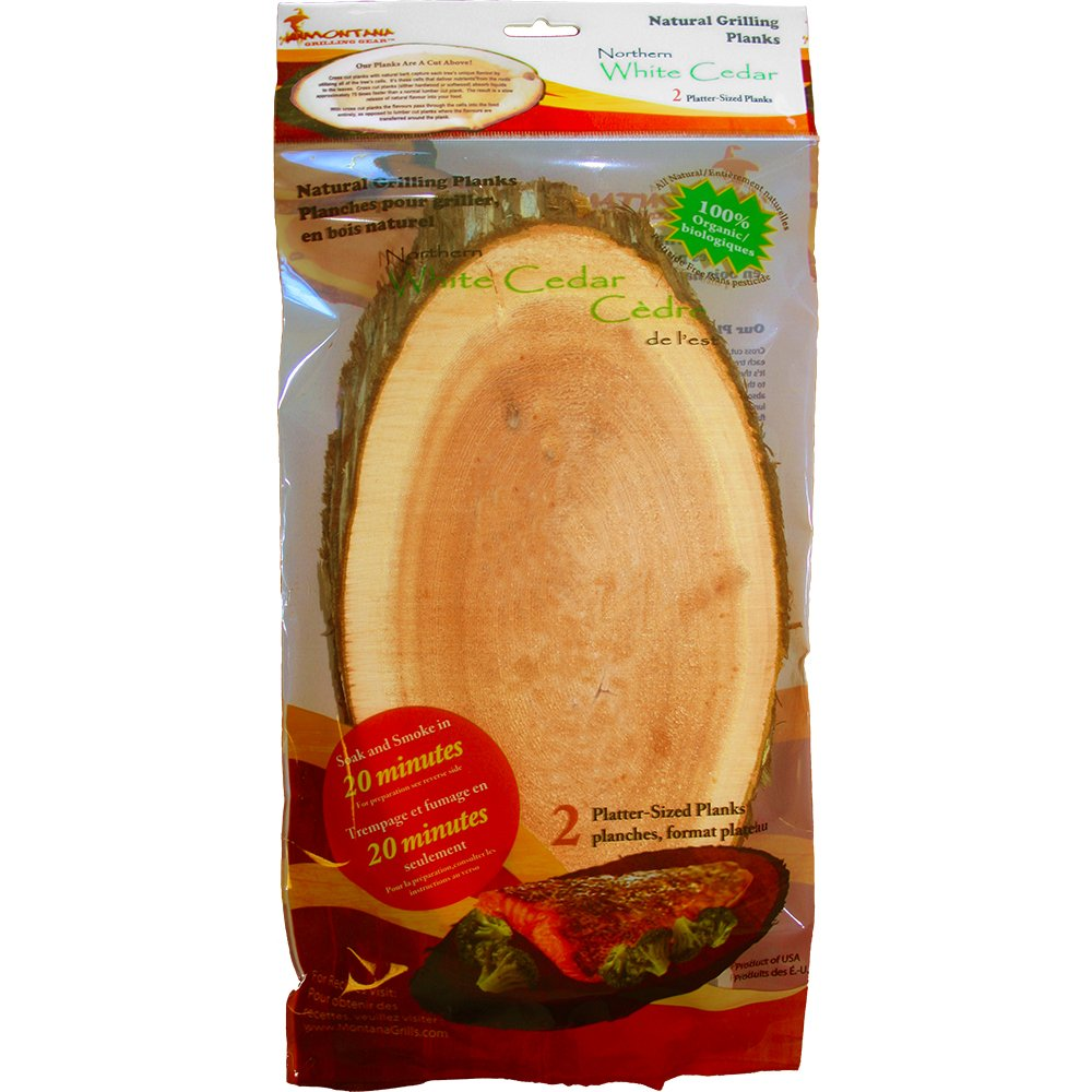 "Montana Grilling Gear Smoking and Cooking Natural Grill Plank – 100% Organic and Pesticide Free – Best Liquid Absorption Because of Cross Cut - Platter Size 6"" X 12"" - White Cedar - LOP612-WC Villa Olympic Inc."