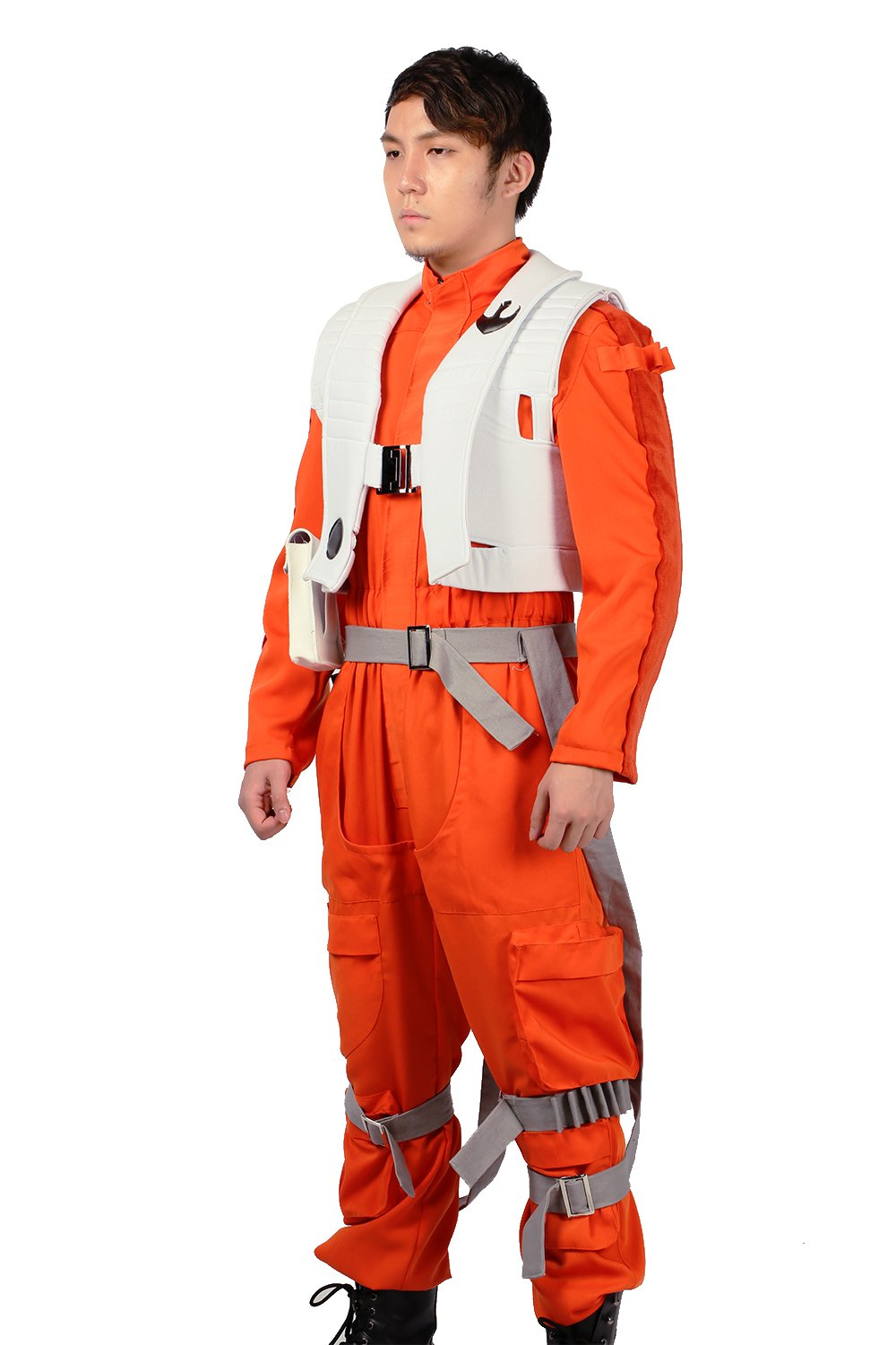 XCOSER Poe Dameron Costume Deluxe Orange Jumpsuit Suit Halloween Cosplay Outfit XL by xcoser (Image #5)