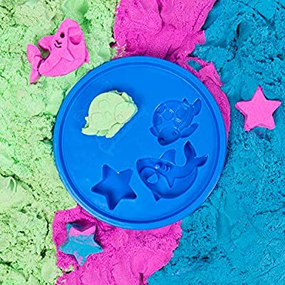 SlimySand Bucket, 5 Pounds of SlimySand in 3 Different Colors (Blue, Green and Purple), 3 Molds, Bucket is Reusable for Storage. Super Stretchy & Moldable!: Toys & Games