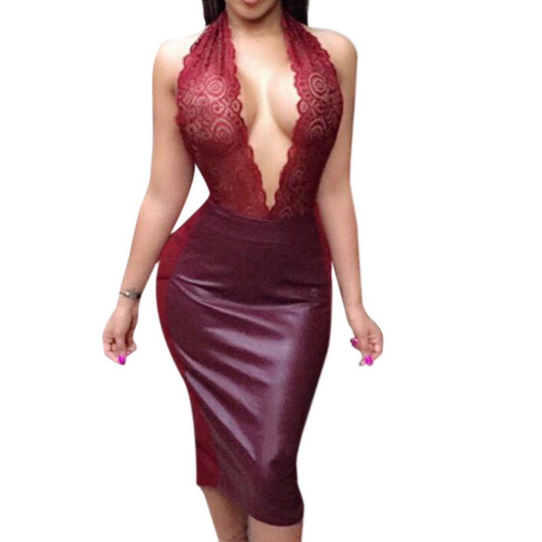 Qiyun Women Embroidery PU Leather Furcal Party Dress Sexy Backless Lace See  Through Robe