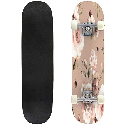 "Vintage Beautiful and Trendy Seamless Pattern Wind Blow Flowers Outdoor Skateboard 31""x8"" Pro Complete Skate Board Cruiser 8 Layers Double Kick Concave Deck Maple Longboards for Youths Sports : Sports & Outdoors"