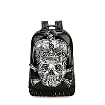 5eb012d0de JUNBOSI Unisex Pu Backpack 3D Skull Men s Waterproof Laptop Bag Outdoor  Student Ladies Backpack Leather Travel