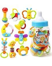 YeahiBaby Primer sonajero y mordedor juguete con mamadera gigante 9pcs bebé agarre colorido juguete (Color al azar)