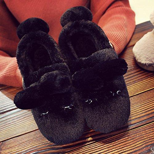 Fankou inverno caldo giovane uomini e donne cartoon sacchetto con fondo più spessa della bella anti-slittamento home indoor pantofole, 36-37 (piccolo di 1 metri), nero