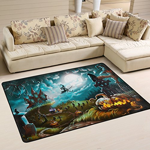 Naanle Halloween Area Rug 4'x6', Mystery Graveyard Pumpkin Polyester Area Rug Mat for Living Dining Dorm Room Bedroom Home Decorative
