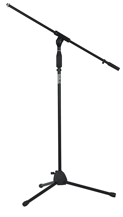 Rok-It Standard Microphone Stand with Fixed Boom Arm and Tripod Base