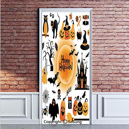 Halloween Decorations Door Wall Mural Wallpaper Stickers,All Hallows Day Objects Haunted House Owl and Trick or Treat Candy,Vinyl Removable 3D Decals 35.4x78.7/2 Pieces set,for Home Decor Orange Black