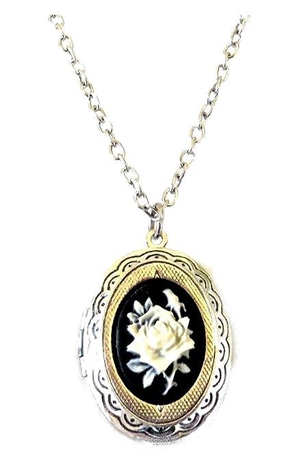 comprare on line eda91 eef31 Gothic Lacrima Collana portafoto Piccola con cammeo 18x13mm Rosa Chiara  Victorian Retro Cream Rose Cameo Locket Necklace