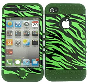 APPLE IPHONE 4G 4S CASE (TRANSPARENT GREEN ZEBRA SNAP + Dark Green SKIN), SHOCKPROOF BUMPER COVER FOR IPHONE 4 4S 4G, HIGH IMPACT DUAL LAYER PROTECTIVE HARD & SOFT RUBBER HYBRID - DG-TP1303-S CELLPHONE [ACCESSORIES N MORE]