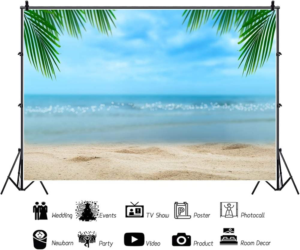 YEELE 10x8ft Beach Photography Studio Backdrop Coconut Leaf and Blur Sea View Background Seaside Vacation Kid Lovers Adult Artistic Portrait Photoshoot Props Summer Holiday Tourism Wedding Wallpaper
