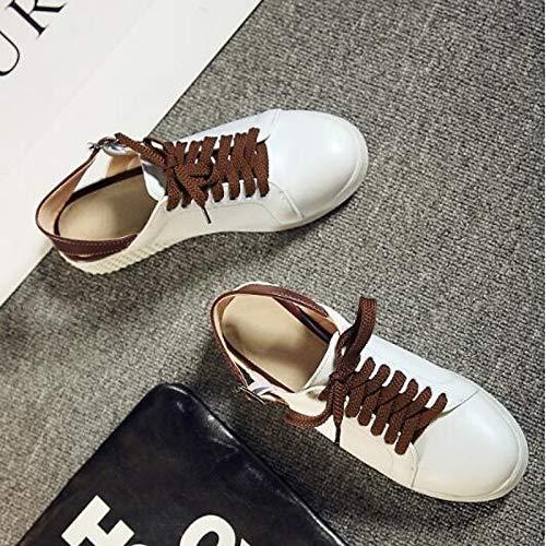 Primavera con Mujer Sneakers Punta Comfort Rosa de Blanca Heel Verano Verde Sintéticos White Zapatos Flat Cerrado ZHZNVX 0wPqEIq