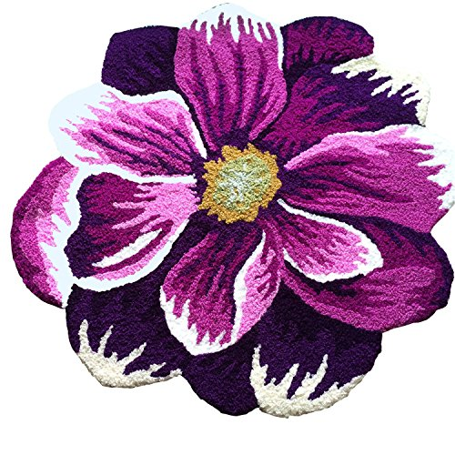 CASOFU Purple and White Flower Area Rug, Pastoral Style Area Rug, Beautiful Purple Poppy Flowers Door mat, Bedroom Mat Antiskid Carpet. 26x26 inches