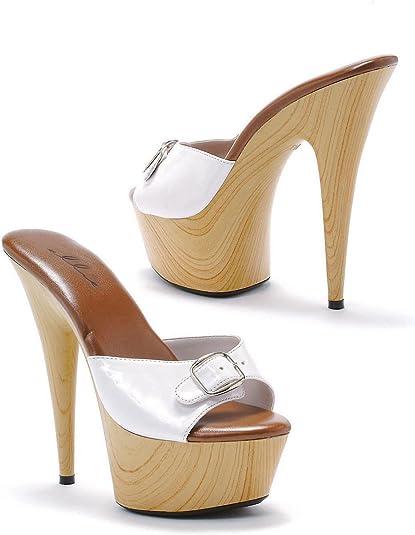 Ellie Shoes Mule Wooden Buckles White Costume Platforms Heels shoes 609-BARBARA