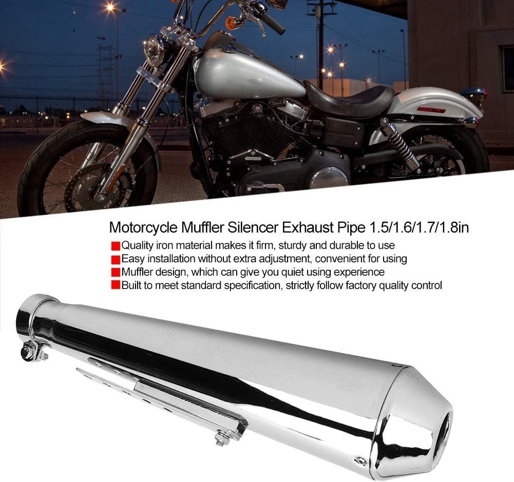 Silencieux de moto silencieux de remplacement de tuyau d/échappement de moto tube de queue de tuyau d/échappement 1.5//1.6//1.7//1.8in Modification pi/èces accessoire de moto Galvanoplastie