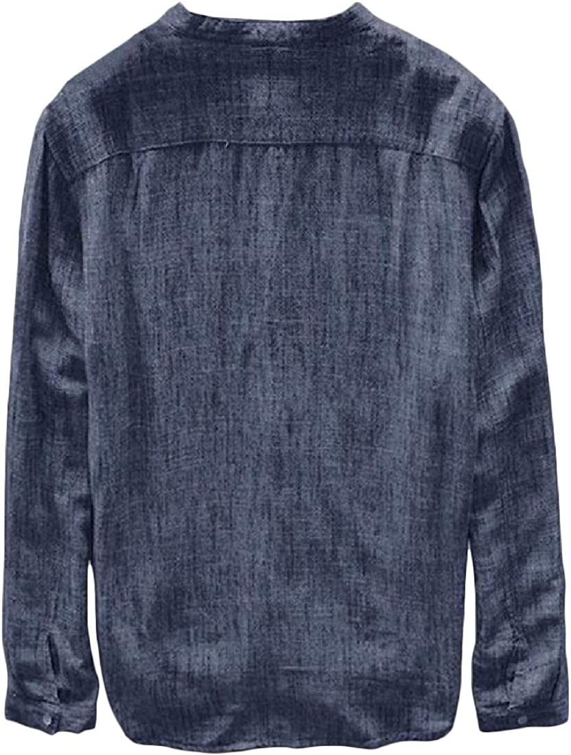 Sweatwater Mens Long Sleeve Crew Neck Loose fit Cotton Linen Button Down Shirts