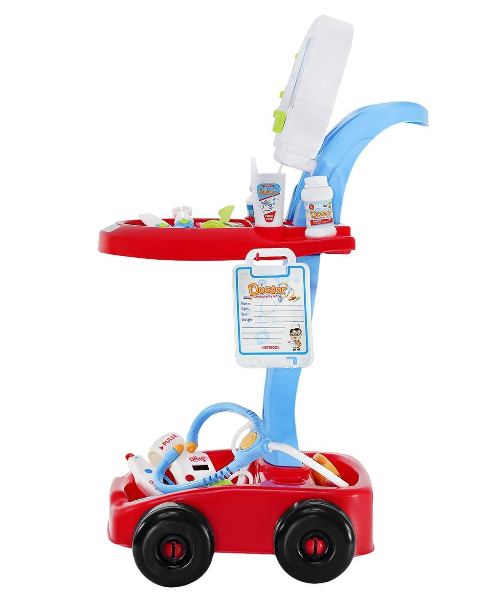 ISO TRADE Set de Juguetes Médicos Pequeño Doctor Accesorios Pequeño Doctor 18 Piezas Sonido Luz Carro para Niños Niño 6114: Amazon.es: Juguetes y juegos