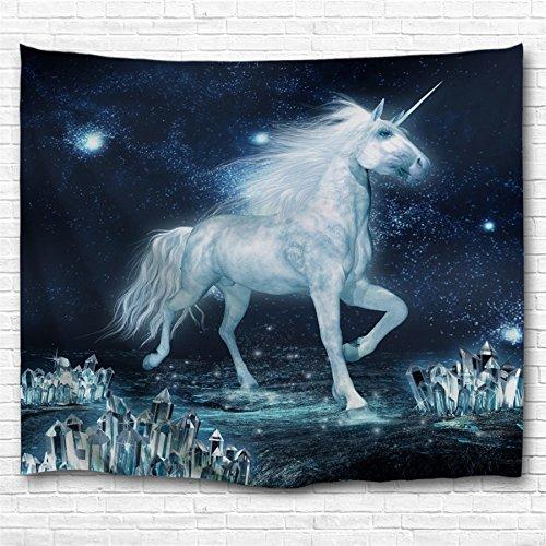 KLOLKUTTA Unicorn Tapestry Beach Sheet Wall Hanging, Animal Theme 3D Print Romance Space Wall Hanging for Bedroom Living Room Dorm Art Decor Sets (Unicorn Dancing on The Ice, 80 X 60 Inch)