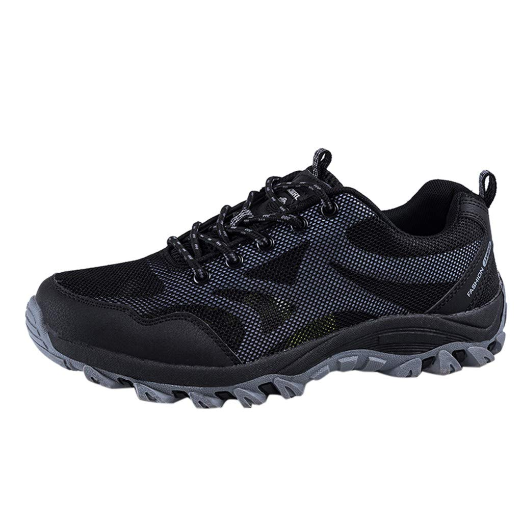 Couple Hiking Shoes,Mosunx Athletic 【Non-Slip Arch Support Breatnable】Mesh Lace Up Fashion Outdoor Sneakers-Trail Running Shoes for Men Women Boys Girls (8.5 M US, Gray)