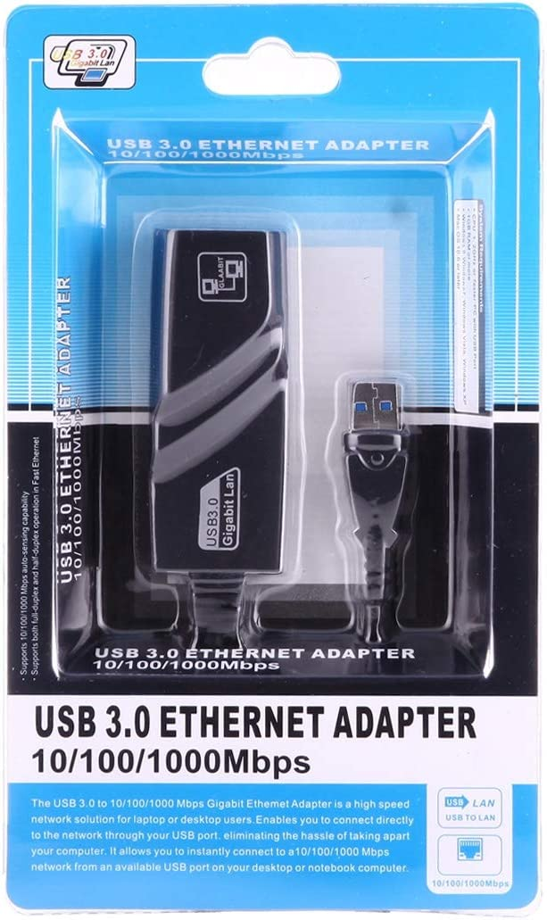 Plug and Play USB 3.0 10//100 Black 1000Mbps Ethernet Adapter for Laptops