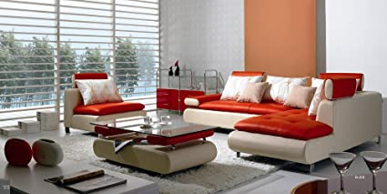 B 205 Modern Contemporary White And Red Leather Sectional Sofa Set