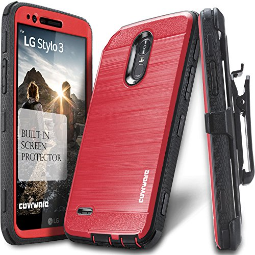 LG Stylo 3 / Stylo 3 Plus Case, COVRWARE [Iron Tank] Built-in [Screen Protector] Heavy Duty Full-Body Rugged Holster Armor [Brushed Metal Texture] Case [Belt Clip][Kickstand] for LS777, Red