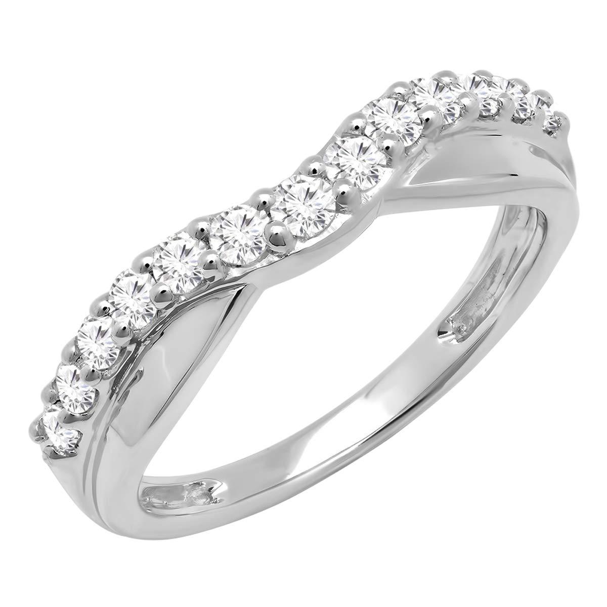 0.55 Carat (ctw) 10K Round Diamond Ladies Wedding Guard Contour Band 1/2 CT, White Gold, Size 7 by Dazzlingrock Collection