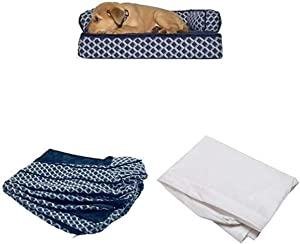 Furhaven Pet Bundle - Small Diamond Blue Orthopedic Plush Faux Fur & Décor Comfy Couch Sofa, Extra Dog Bed Cover, Water-Resistant Mattress Liner for Dogs & Cats