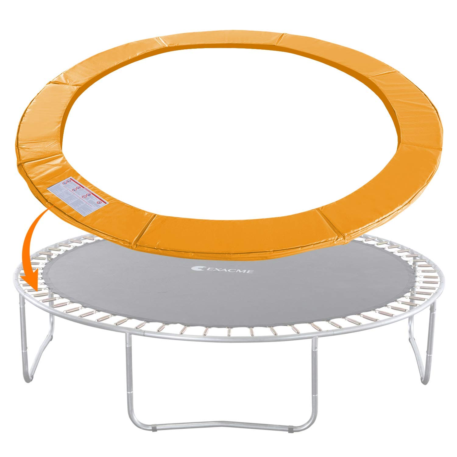 Exacme Trampoline Replacement Safety Pad Round Spring Cover, No Slots (Orange, 14 Foot) (Renewed) by Exacme