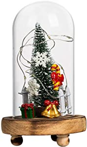 N/H Tabletop Christmas Tree Mini Tabletop Christmas Tree in Glass Dome on Wooden Base Light Up Christams Decor Creative Christmas Ornaments Gift (A)