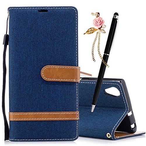 Xperia Pelle Flip In Caso Supporto Blu Scuro Custodia Rosa Con Sony Portafoglio Meeter Cover Plus Per Premium Plus Xa1 8wSCEq